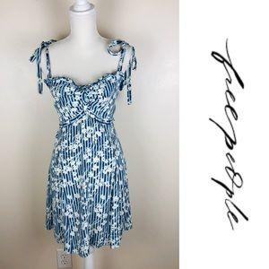 Free People Floral Striped Midi Dress Sz 12 NWOT